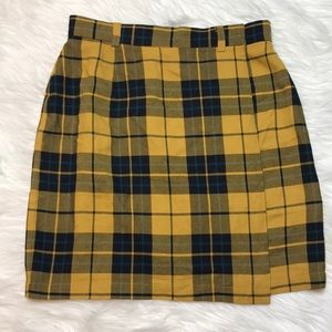 Vintage GAP yellow plaid wrap skirt